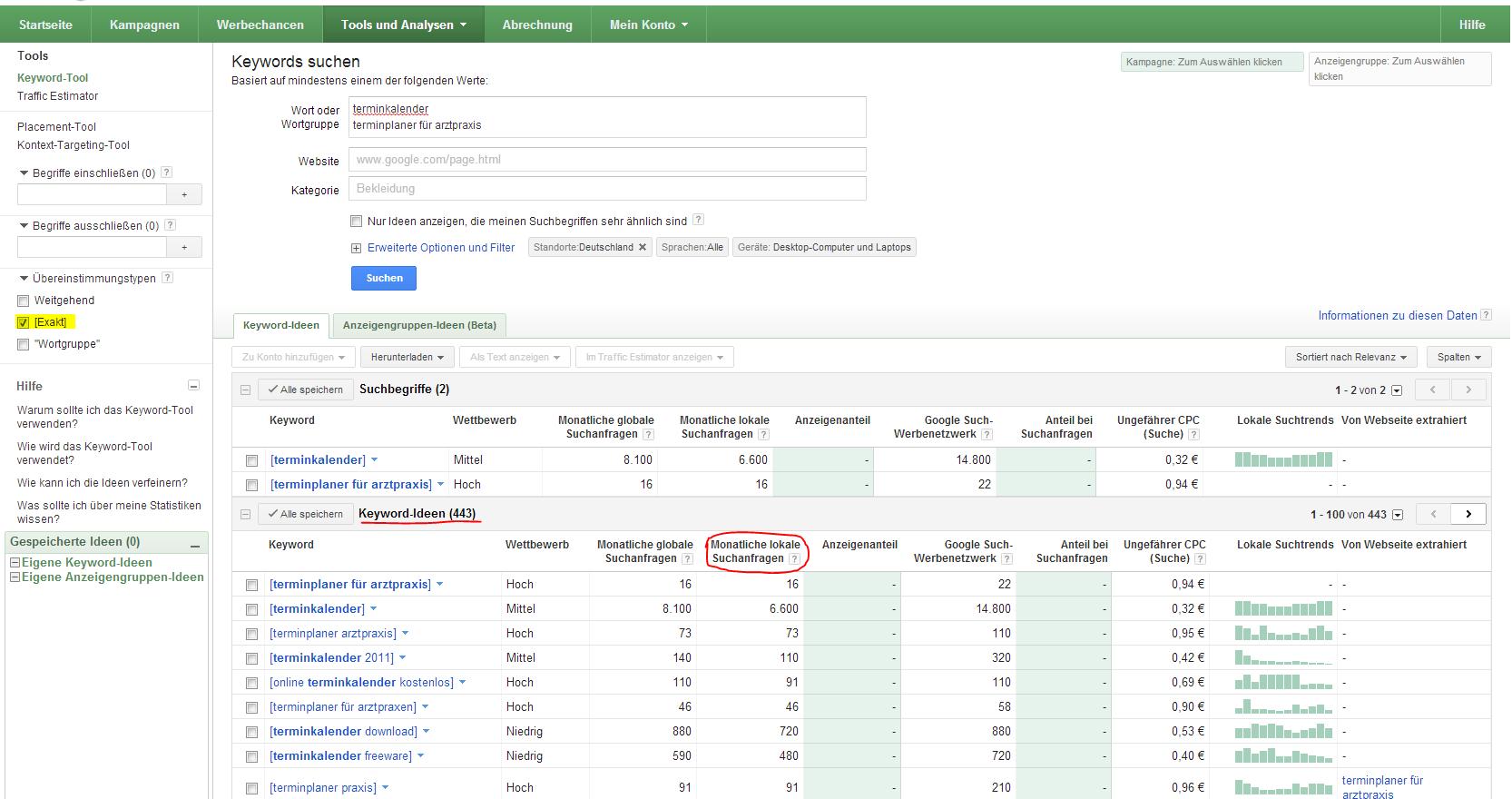 Keyword-Recherche mit Google Keyword Tool