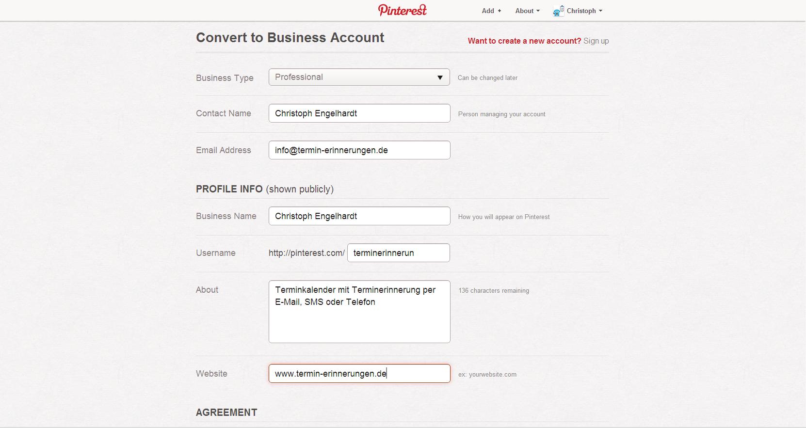 PInterest Firmenseiten Formular