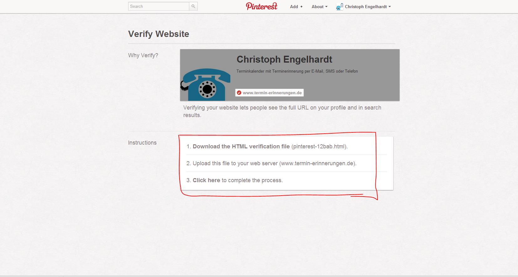 Pinterest Firmenseite URL verifizieren
