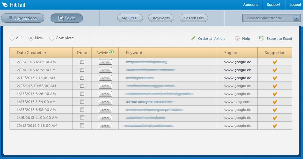 Longtail-Keywords mit HitTail finden - Todo-Liste